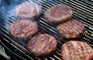 burgers on grill