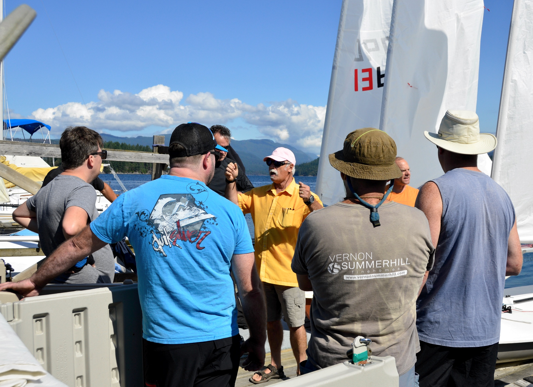Kevin Mcevoy giving instruction to the skippers of the 6th Annual Poise Cove Regatta July 16th, 2017