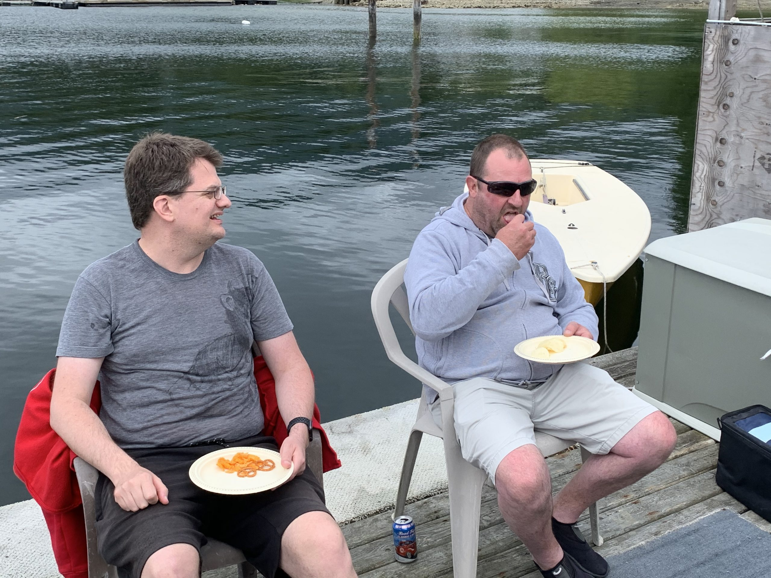 Robert and Ken have a laugh and some snacks at the SCSA BBQ on Canada Day.
