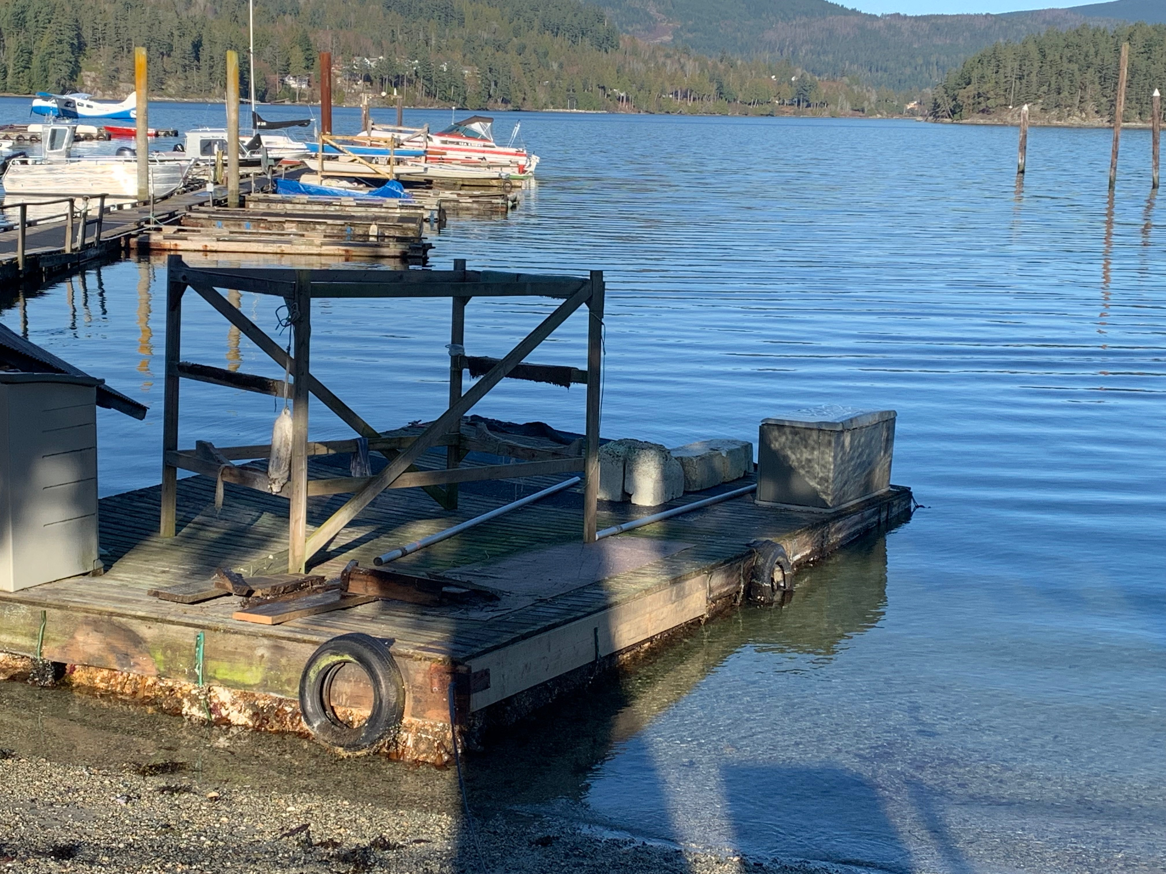 One of our three floats on the shore of Porpoise Bay.