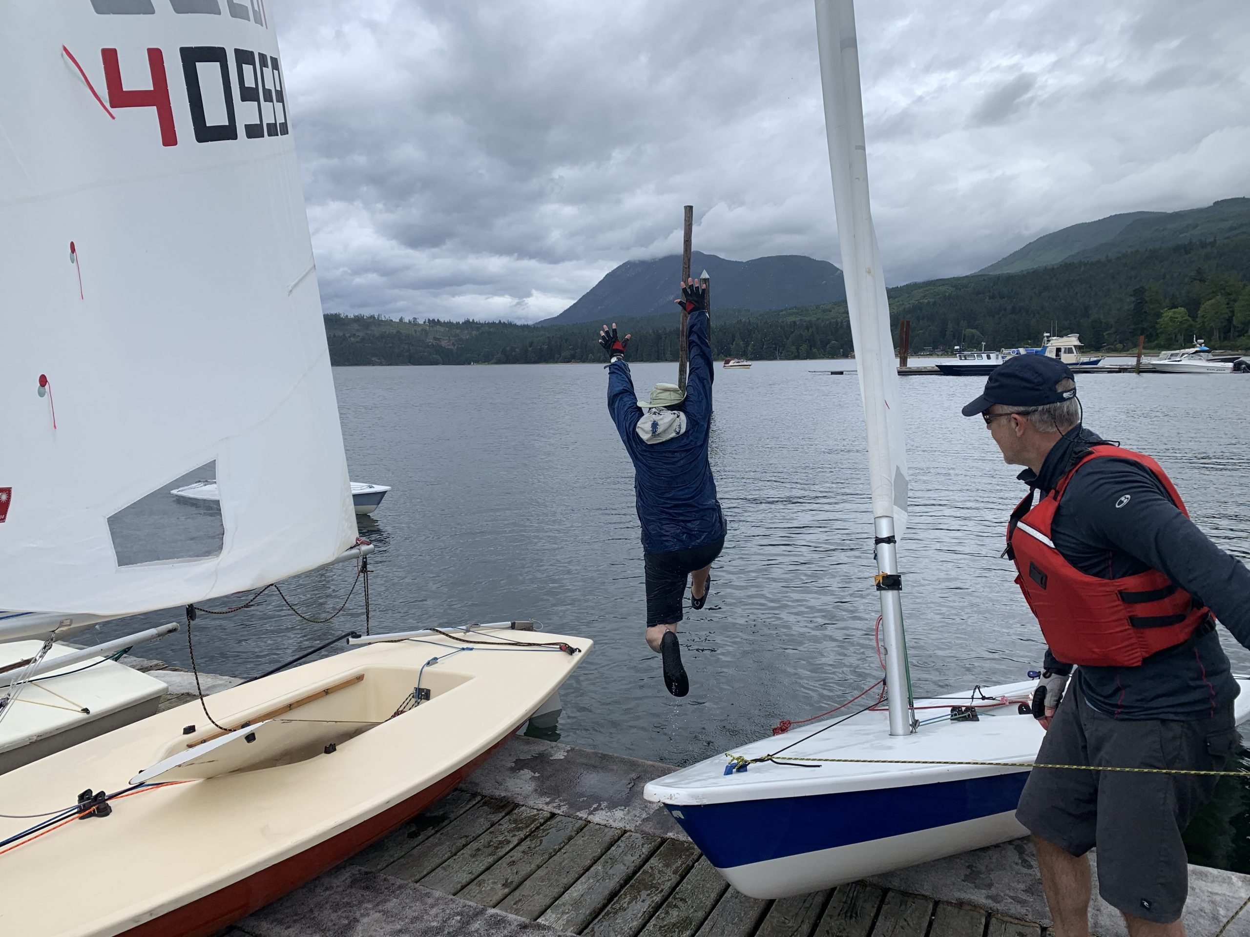 """Brian """"the Banker"""" Shigetomi had a celebratory splash in the Porpoise Bay after we won two races that day. He was pretty happy with the results!"""